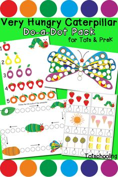 Very Hungry Caterpillar Do-a-Dot Pack | Totschooling - Toddler and Preschool Educational Printable Activities
