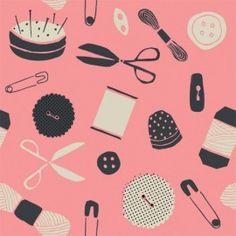 Rosehip Dubbelzijdig papier - Pink Sewing & Buttons