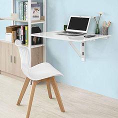 SoBuy Wall-mounted Drop-leaf Table, Double Folding Kitchen & Dining Solid Wood Table Desk, 80×60cm Table Desk, Dining Table, Drop Leaf Table, Solid Wood Table, White Desks, Dining Room Furniture, Office Desk, Kitchen Dining, Corner Desk
