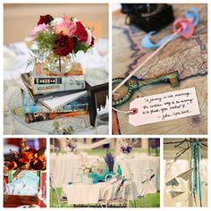 Beautiful book-themed wedding decor