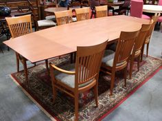 Honey Finish Table & 8 Chairs (20347-1) - Consignment Northwest
