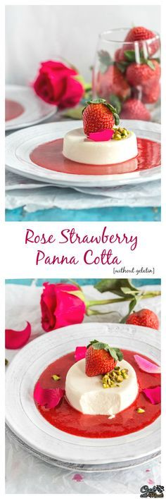 Rose Strawberry Panna Cotta Without Gelatin