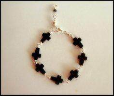 Items similar to Black Onyx Cross Bracelet on Etsy Black Onyx, Beaded Bracelets, Trending Outfits, Unique Jewelry, Handmade Gifts, Etsy, Vintage, Fashion, Kid Craft Gifts