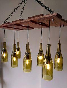 Wine Bottle Chandelier by MrFoxCustoms on Etsy