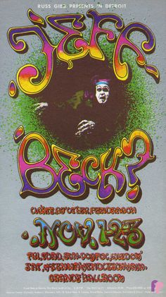Classic Poster - Jeff Beck Group at Grande Ballroom 11/1-3/68 by Carl Lundgren