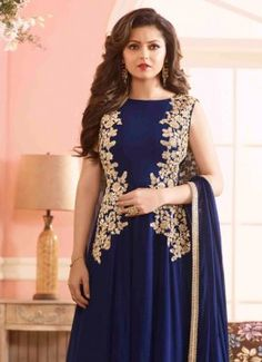 Navy Blue Georgette Designer Floor Length Suit #salwar kameez  #indian #trendy #red #bridal#bollewood #party wear #traditional#online #mangosurat#style #boutiques #shopping #fashion #modal #social #branding #sales #marketing #business #discount #deal #success #ethnic #creation #embroidery #classic #cloth #clothing #bridal wear#jardoshi #work #chiffon #acteress #navel #desi #new #woman fashion #designersuit