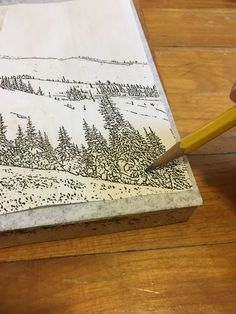 Carbon paper wood image transfer