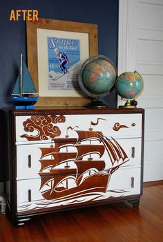 Love This Marine Inspired Diy Dresser Makeover Must Do For My Boys Room Custom Stencil And Some White Paint Can To Turn Up The Kid Volume On