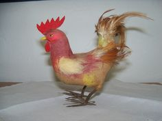 Spun Cotton Large Rooster Ornament RARE Antique Vintage with Feathers Felt | eBay