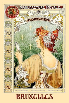 Fashion Belgum Mirror Corsets  Lady Brussels Bruxelles Vintage Poster Repro Free S/H in USA (14.85 USD) by HeritagePosters