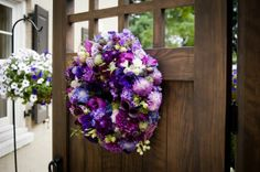 purple wreath with dahlias, Françoise Weeks