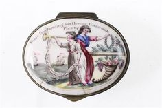 A rare mid-18th˜Century English Staffordshire enamel patch box Fame Proclaiming her Hero's Peace