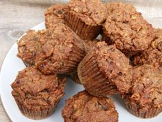 Banana-Carrot Almond Flour Muffins Recipe: Sub out blueberries for raisins, add a banana for coconut, maple syrup for honey, 1/2c protein powder for almond flour, add flax or chia seeds.