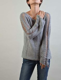 Hand Knit Woman Sweater Eco Cotton sweater in light от MaxMelody, $82.00