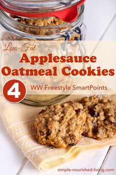 These old-fashioned, low-fat applesauce oatmeal cookies are simple, wholesome cookies that are easy to make and really satisfying. They smell like apple pie as they bake and are an easy drop cookie with a chewy cake-like consistency. Each cookie has 4 Weight Watchers Freestyle SmartPoints. #simplenourishedliving #wwrecipe #weightwatchers #wwfamily #wwsmartpoints #wwfreestyle #smartpoints #easyhealthyrecipes