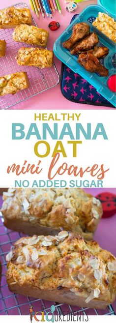 Healthy banana oat mini loaves, perfect for the lunchbox and awesome as a breakfast food!  No added sugar and the goodness of wholemeal and oats help to make these high in fibre and really yummy! #kidsfood #lunchbox #healthykids #noaddedsugar #bananabread #kidslunchbox via @kidgredients