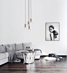 Living room with hanging lightbulbs