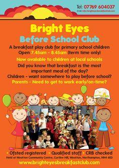 bright eyes before school club leaflet design wwwflyer designersco