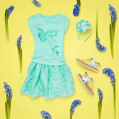 Girls' fashion | Kids' clothes | Embellished graphic tee | Sparkle floral print dress | The Children's Place