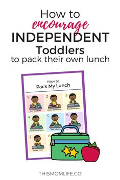 Toddler activity to encourage independence, responsibility, and teach life skills. Montessori inspired printable perfect for preschool and kindergarten kids learning to pack their lunch. #toddler