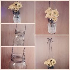 Mason jar lantern Large Ball mason jar Twine harness; adjustable 24 inch Lids included* Price includes a choice of: Lace wrapped or plain,