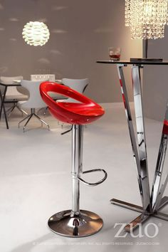 Zuo Tickle Barstool Red - 300024. Smiling and laughing, the Tickle barstool has a sculpted ergonomic seat made of ABS plastic. This stool is adjustable from counter to bar height with a chrome steel base and footrest.