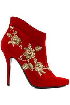 Balmain ~ Suede Ankle Boots, Red