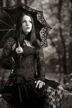 Gothic Art Woman with umbrella