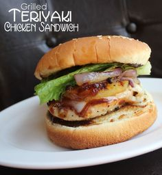 Grilled Teriyaki Chicken Sandwich!!  Holy, cow, I hope you make this sandwich!! It is out of this world scrumptious…that is, if you are in to things like juicy chicken, caramelized onions, grilled pineapple and melted cheese all covered in a knock your socks off teriyaki sauce!!!