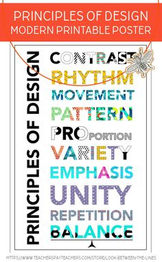 Modern Principles of Design Printable Poster in Two Sizes, Art Classroom Decor Breathe new life into your art class decor and your principles of design posters with this modern version. Easy to print, easy to hang to brighten your art room. Elements And Principles, Elements Of Art, Art Classroom Decor, Classroom Design, Design Posters, Art Posters, Class Decoration, Art Courses, Art School