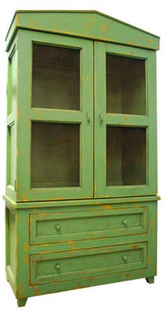 Philmore Hutch measures 47'' X 22 1/4'' X 85''. A simplified Greek pediment crowns this classic storage cabinet, with touch lights as interior accent. Deep recessed-panel drawers and sides add character as do the screen-inserts in place of glass on the exterior doors.Shown in Palm Leaf. The richly layered and glazed pigments of our vendor's water-based environmentally friendly Green Craft finishes are safer for your home.