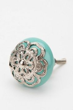 Medallion Knob, Turquoise eclectic knobs