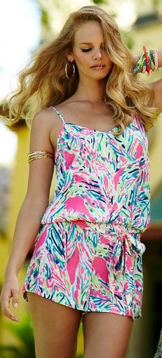 Fun AND all in one...Lilly Pulitzer Deanna Romper in Palm Reader