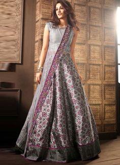 9bee875732 Grey Flower Printed N Embroidery Work Georgette Designer Party Wear Gown