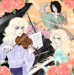 """This is what happen when """"Rose of Versailles"""" mix with """"Orpheous' Window""""(Orpheous no Mado) Manga, Lady Oscar, Work Project, Drawings, Projects, Fandom, Comic, Vintage, Versailles"""