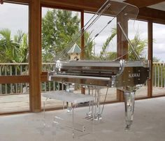 Love this concept. Unfortunately, pianos are made of wood for a reason: they resonate better. Plastic or glass would cause a piano to sound tinny.... Oh well