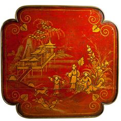 A gilt lacquer Regency top with Chinoiseries of figures amongst pavilions, bridges and ponds. Georgian Furniture, Antique Furniture, Chinoiserie, Oriental Furniture, Metal Trays, Industrial Revolution, Tea Ceremony, Ponds, Japanese Art