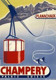 Valais, Switzerland - Champery en téléphérique. Winter sports. Vintage travel poster