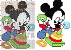 Baby Mickey Mouse with toys cross stitch pattern free