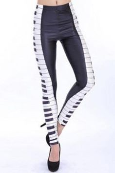 13975f1990ecc Comfortable Black and White Piano Key Print Leggings Ankle Length Leggings,  Music Score, Piano