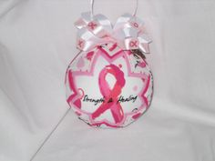 BREAST CANCER Ornament, Think Pink, Breast Cancer Awareness, Pink Ribbon,Pink Ornaments, Breast Cancer, Pink Ribbon Ornaments by JCQuiltedOrnaments on Etsy