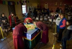 Sand painting is a totally religious act. There is no sense of pride or ego in accomplishing such a demanding and delicate mandala. The monks are not named, and the sand mandala is destroyed at the end of its creation.