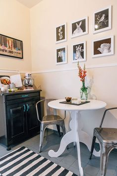 tiny dining nook with galvanized metal chairs
