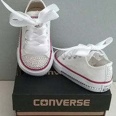 White Converse Bling Crystals Toddler Sizes by cutiepiegoodies