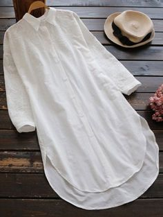 SHARE & Get it FREE | Embroidered High Low Button Up Tunic Shirt Dress - White One SizeFor Fashion Lovers only:80,000+ Items • New Arrivals Daily Join Zaful: Get YOUR $50 NOW!