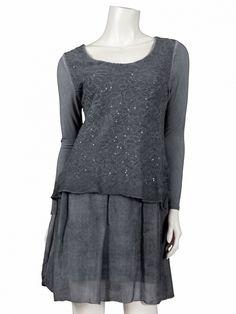 Damen Tunika Kleid mit Seide, grau von www.meinkleidchen.de