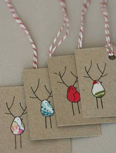 Gift Tags Reinbirds by LilaRubyKingShop and Etsy … - DIY Gifts Wedding Ideen Christmas Wrapping, Christmas Tag, Homemade Christmas, All Things Christmas, Christmas Decorations, Christmas Ornaments, Diy Gifts, Handmade Gifts, Handmade Items