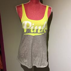 Victoria's Secret PINK Neon Yellow Grey Tank Small VS PINK. Neon yellow, grey,& white. Worn once. Small PINK Victoria's Secret Tops Tank Tops