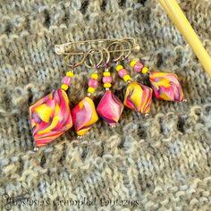 Colorful swirl stitch markers set Pink purple by CrumpledFantazies