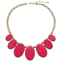 Pink Graduated Oval Bib Necklace (130 NOK) ❤ liked on Polyvore featuring jewelry, necklaces, pink, graduation necklace, cabochon necklace, pink necklace, oval necklace and pink jewelry